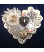 Heart Pin Design Collage Heart & Buttons Brooch... - $25.99