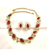Lisner Choker Necklace and Earrings Red Rhinestone - $60.00