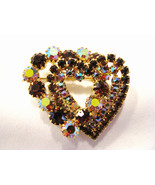 Rhinestone Heart Brooch Brown and Jonquil  - $30.00