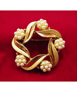 Crown Trifari Brooch Faux Pearl Gold Tone Leaves - $30.00