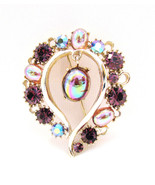 Lisner Heart Pin Brooch Purple AB Rhinestones - $32.00