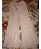BCBG MAXAZRIA Khaki & White Pinstripe cuffed pa... - $39.99