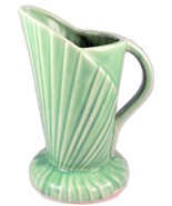 Vintage green pottery Art Deco shell fan vase p... - $18.00