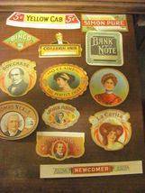 11 odd-sized cigar box labels, vintage 1920s, m... - $12.50