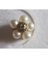 10K Pearl and Diamond Floral Cluster Gold Earri... - $65.00