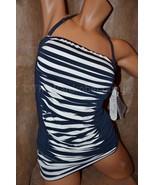 NWT Anne Cole M Stripe Tuck Shirred Bandeau Tan... - $43.99
