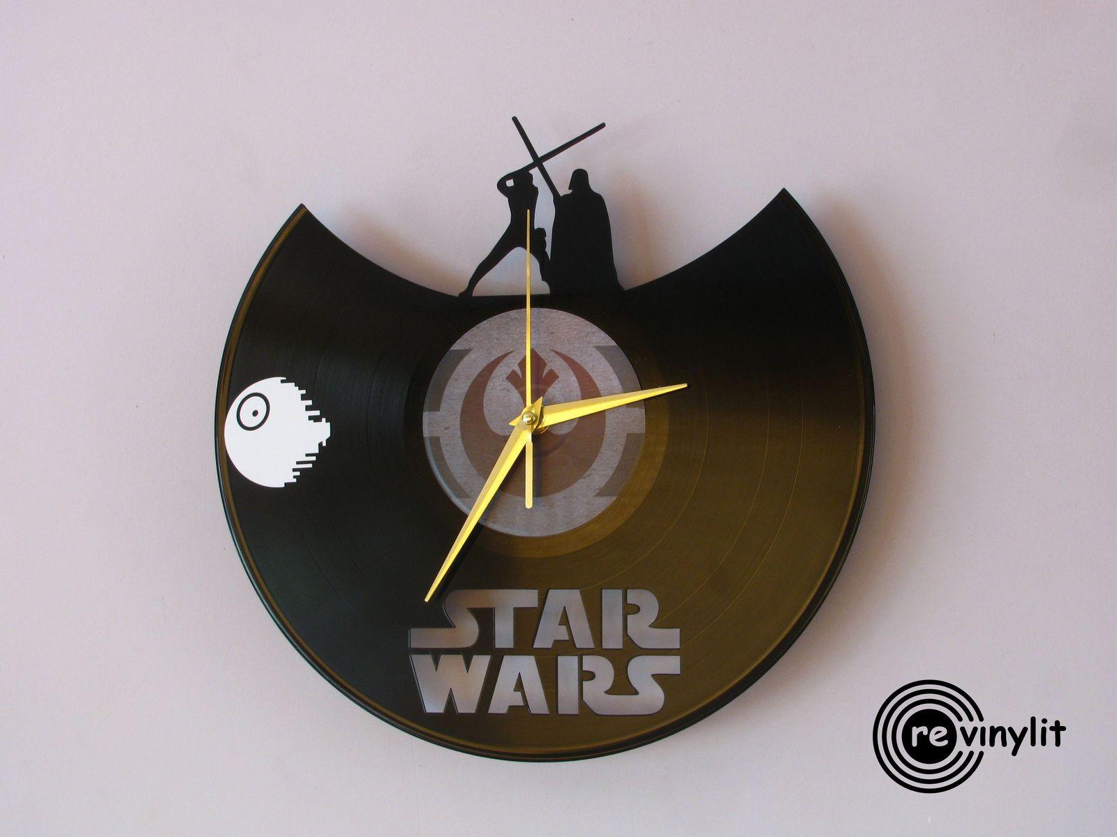 vinyl record clock star wars revinylit wall clocks. Black Bedroom Furniture Sets. Home Design Ideas
