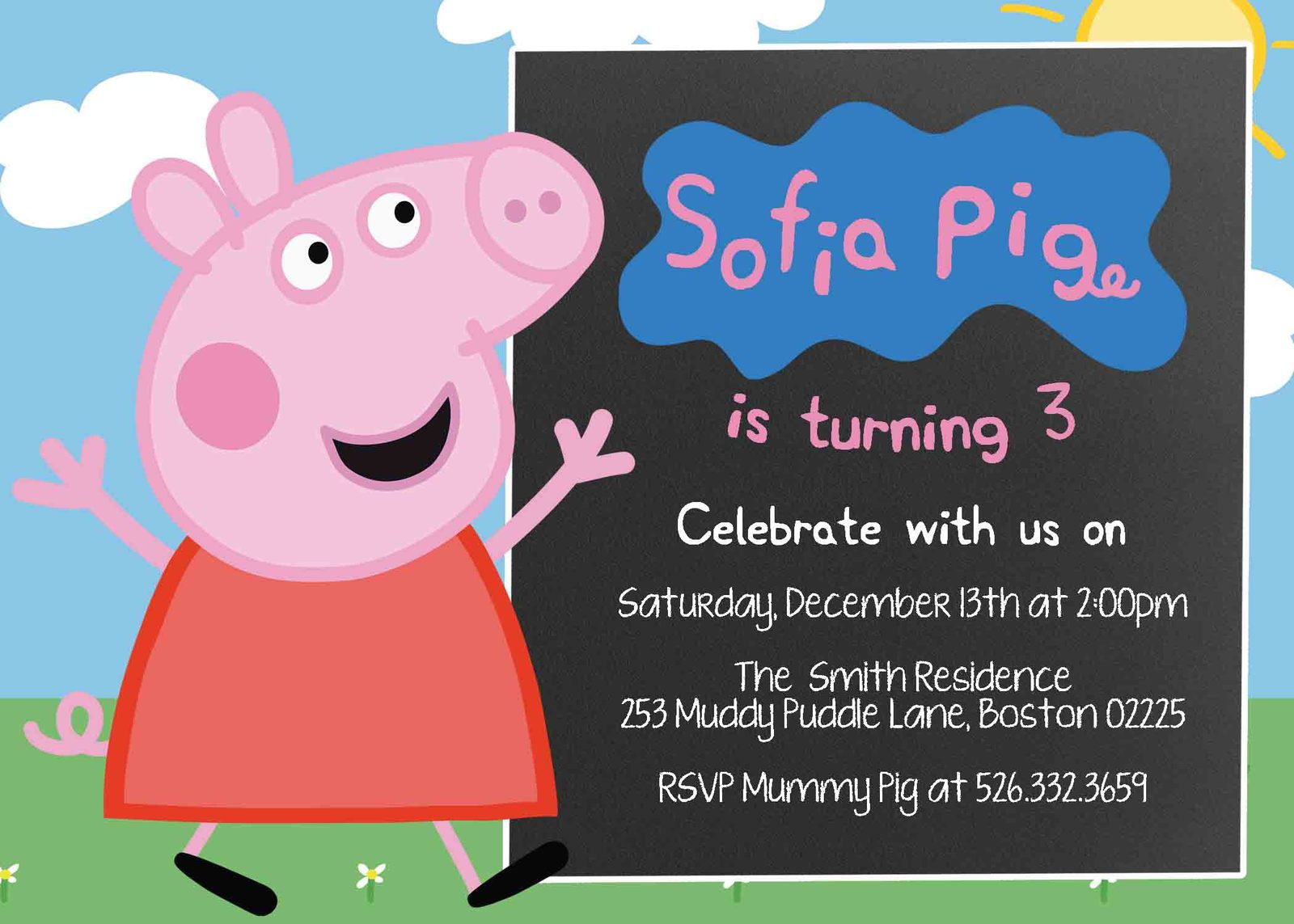 Peppa Pig Birthday Party Invitation Personalized Chalkboard