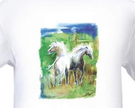Watercolor_art_drawing_blues_greens_mare_foal_horses_in_field_by_janna_and_andreas_creations_white_tshirt