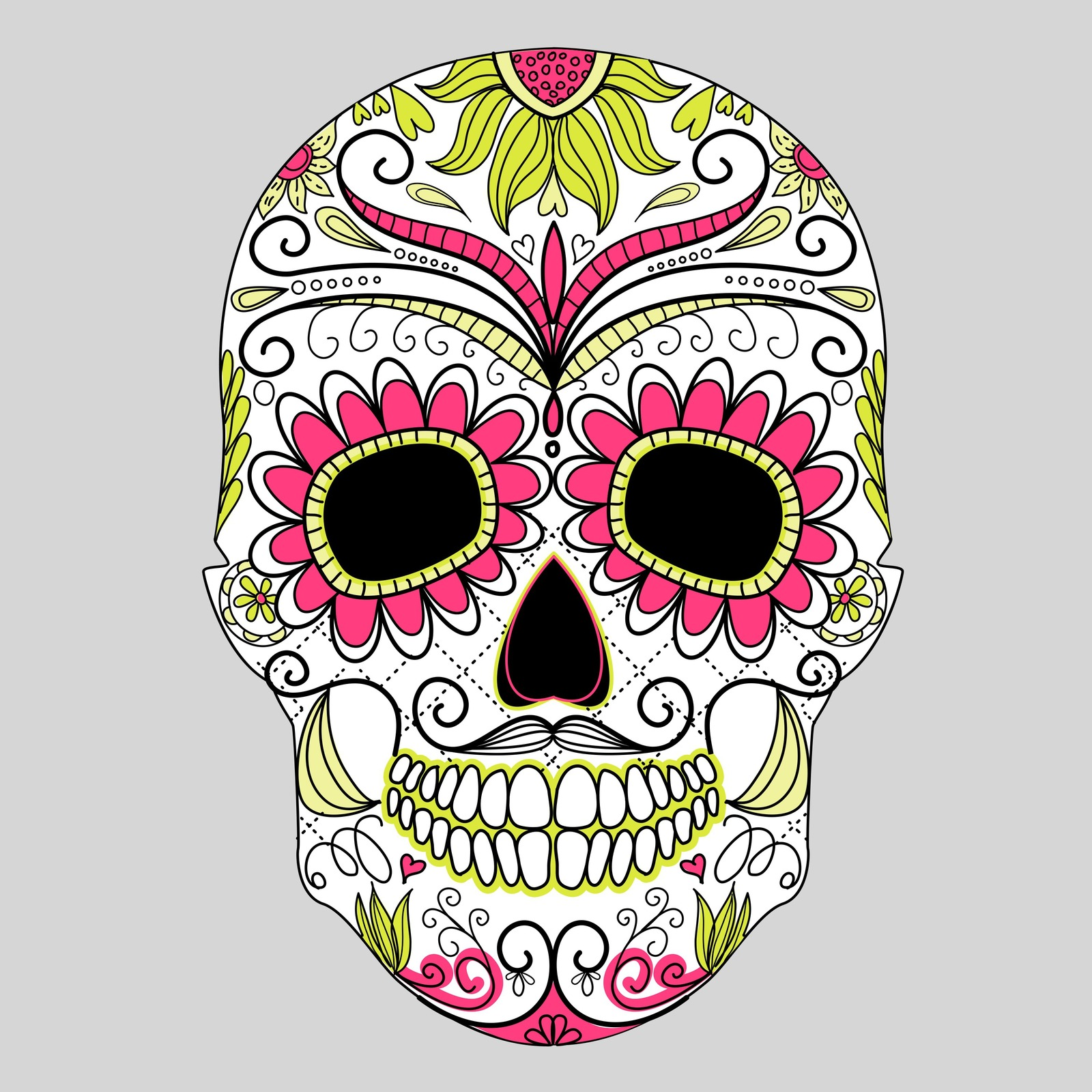 Day of the dead colorful skull with floral ornament2 digital clipart clip art card making - Tatouage tete de mort mexicaine ...