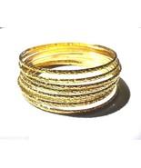 8 Bangles Toddler Girls Bracelet Gold Plated Ag... - $9.87