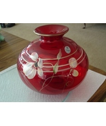 FENTON FLORAL FANTASY ON RUBY VASE - $89.95