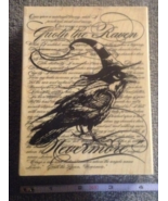 Wood-mounted Nevermore Raven Craft Stamp Hallow... - $12.99