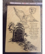 Wood-mounted Grave Owl Cemetary Craft Stamp Hal... - $12.99