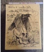 Wood-mounted Raven Skull Words Craft Stamp Hall... - $12.99