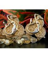 Vintage Mermaid Earrings Faux Coins Pearls Crys... - $29.95