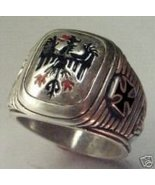 Prussian Eagle Iron Cross Mens Signet ring Ster... - $89.00