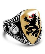 Black Lion Heraldic shield ring  sterling silver - $102.00