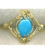 Turquoise Howlite  Gold Wire Wrap Bracelet 3 - $37.98