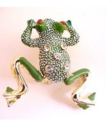 Cute Vintage moveable FROG pin green enamel red... - $9.50