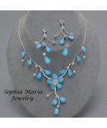 Elegant blue flower necklace set for bridesmaid... - $19.79