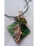 Green art glass with sea horse wire wrapped cry... - $16.83