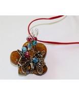 Brown butterfly art glass pendant butterfly cha... - $12.86