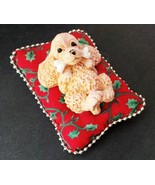 Small dog on a red pillow pin cushion decorativ... - $7.91