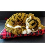 Cat on a red pillow kitty napping on a pillow d... - $8.91