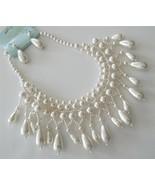 Elegant teardrop cream pearl collar bridal neck... - $18.80