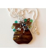 Brown stone dragon fly charm wire wrapped cryst... - $14.84