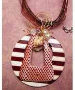 brown striped pendant sea shell and crystals wi... - $13.86