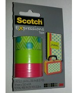 3 Rolls Scotch Expressions Tape Matte Blue Dots... - $4.94