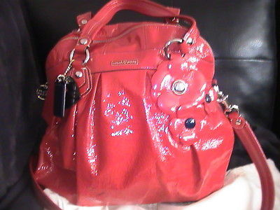 Ale coach large red patent leather poppy floral flower bag purse coach large red patent leather poppy floral flower bag purse 16313 mightylinksfo