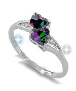 Sterling Silver Double Heart Rainbow CZ Stone ... - $28.00