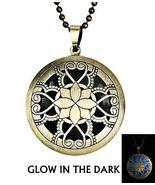 Lotus Theme Brass Finish Glow Blue Locket Necklace - $18.00