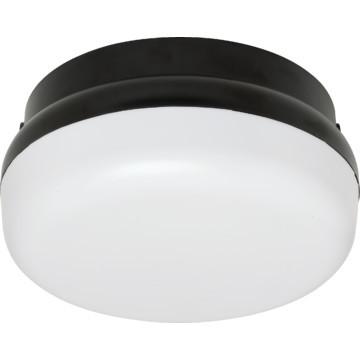 fluorescent round ceiling fixture 26 watt black white lens light. Black Bedroom Furniture Sets. Home Design Ideas