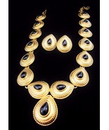Vintage MONET Egyptian Gold Runway Necklace Ear... - $80.75