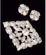 Vintage WEISS Clear Rhinestone Brooch & Earring... - $80.75