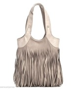 Handbag Purse Long Fringe Faux Leather Tan New - $48.46