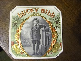 vintage 1920s cigar box label LUCKY BILL - $14.50