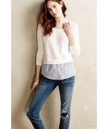 Anthropologie Moth Terrace White Pullover Layer... - $44.95
