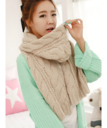 Beige Cable Knit Long Scarf. Modern Chic Chunky... - $49.90