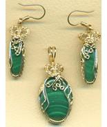Malachite Gold Wire Wrap Pendant Earrings Set 2 - $125.52