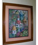 Home Interiors Homco Bird House & Flowers Pictu... - $29.97