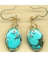 Turquoise Gold Wire Wrap Earrings 6 - $42.99