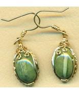 Green Opal Gold Wire Wrap Earrings 14 - $68.99