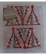 Christmas Tree Ornaments NIP 3D 6 Pack Glitter ... - $9.99