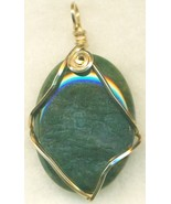 Green Moss Agate Gold Wire Wrap Pendant 40 - $23.95