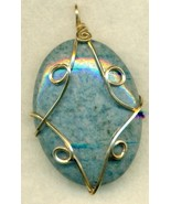 Dumortierite Gold Wire Wrap Pendant 61 - $37.99